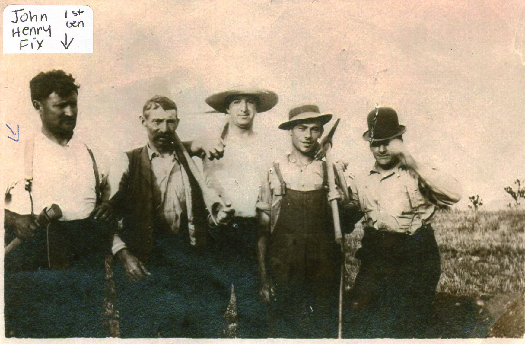 1st Generation John Henry Fix with his cousins dated 1899 at Fix Bros. Fruit Farm, Hudson, New York