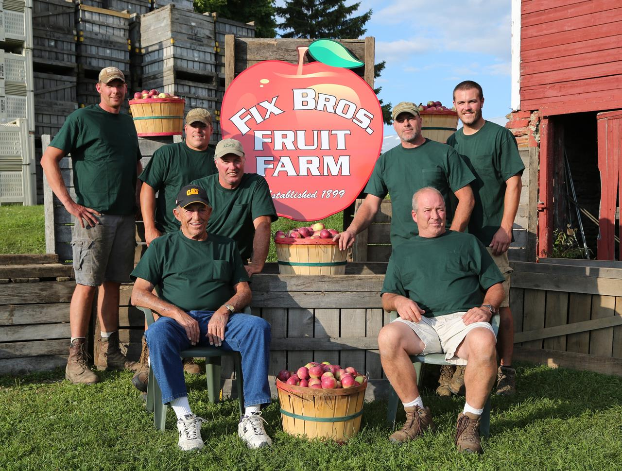 Bob Sr, Bob, Gary, David, Steve, Brad, Brandon 4th and 5th generations at Fix Bros. Fruit Farm, Hudson, New York