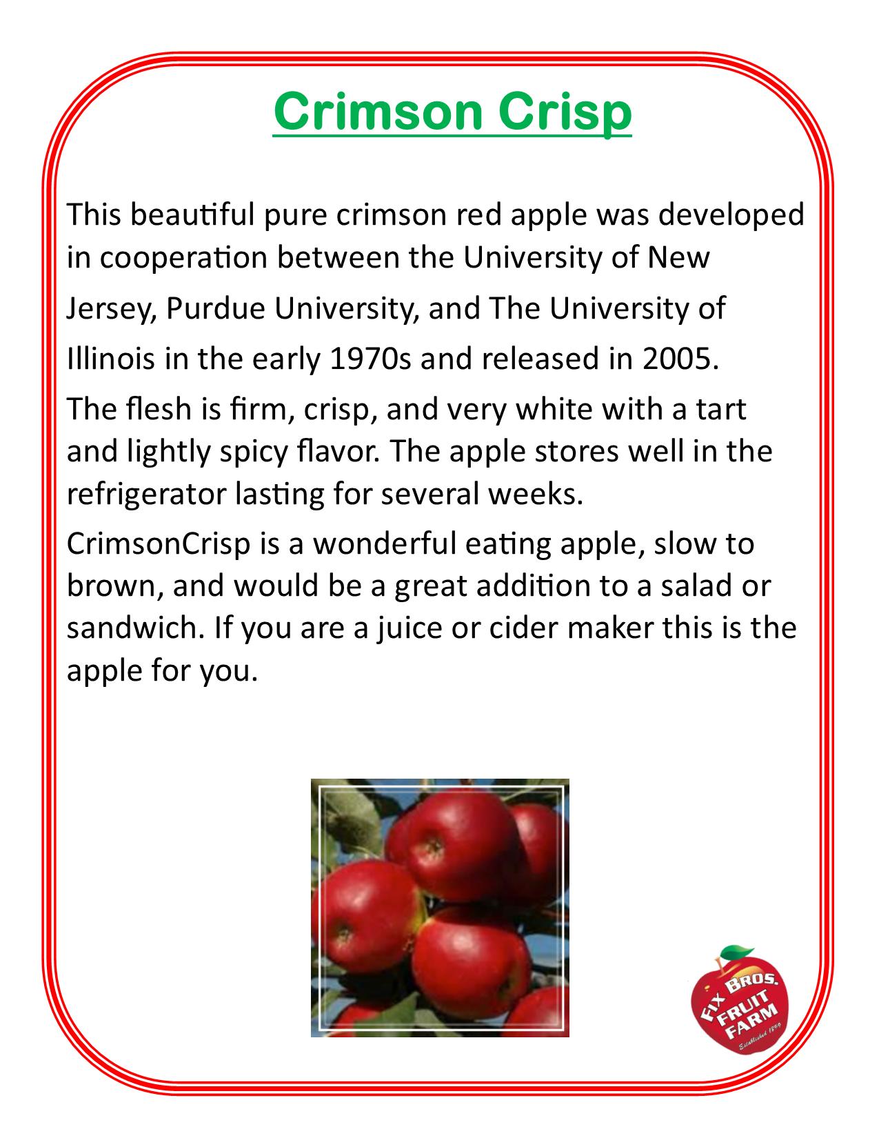 Crimson Crisp Apple description grown at Fix Bros Fruit Farm, Hudson, New York
