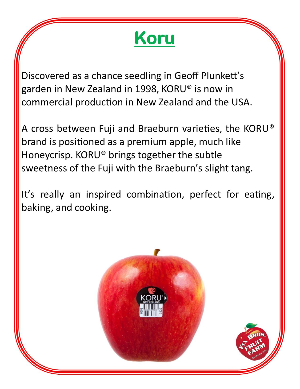 Koru apple description grown at Fix Bros Fruit Farm, Hudson, New York