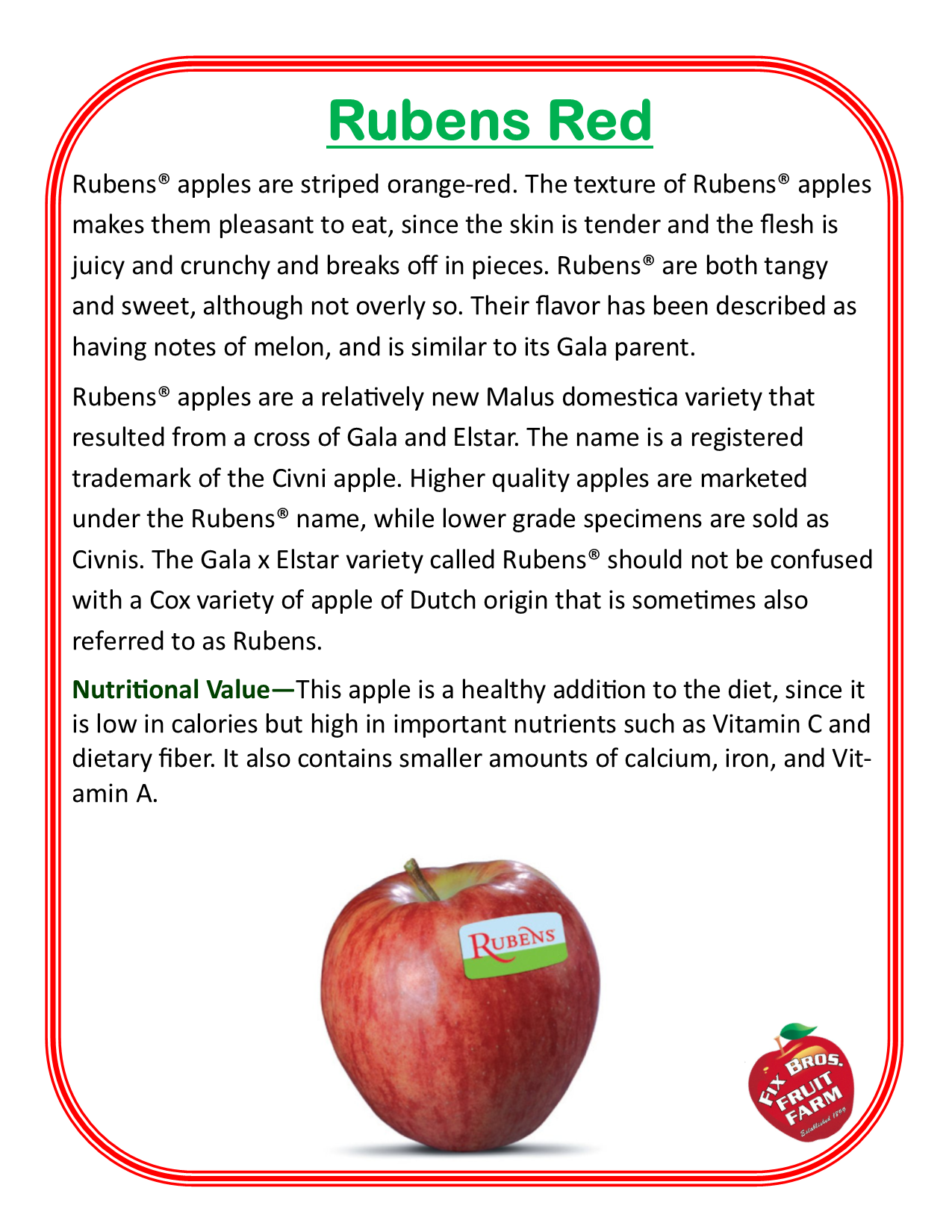 Rubens Red description of the apple grown at Fix Bros Fruit Farm, Hudson, New York