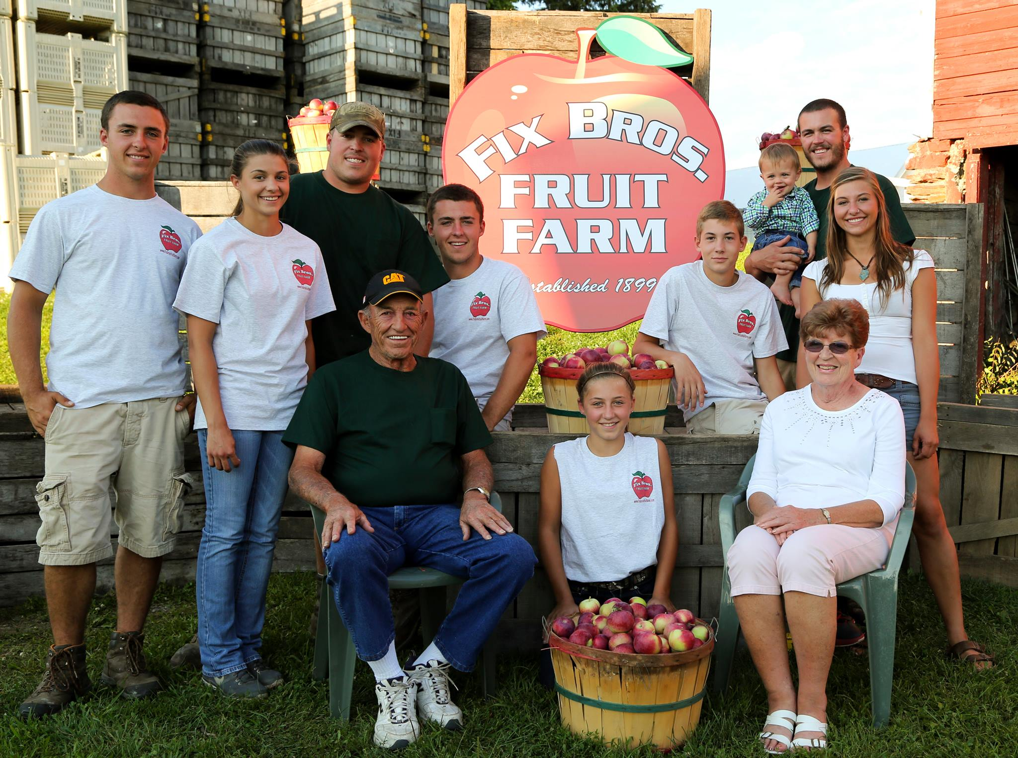 Fix Family grand parents and grand kids at Fix Bros. Fruit Farm, Hudson, New York
